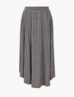 Marks and Spencer Printed Jersey A-Line Midi Skirt