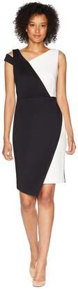 Calvin Klein Asymmetric Neck and Hem Color Block Dress CD8M17KL Women's Dress