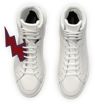 Fendi Lightning Bolt Leather High-Top Sneakers, White $800 thestylecure.com