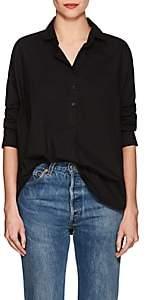 A Shirt Thing Women's Oversized Cotton Poplin Blouse-Black Size 4