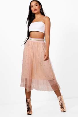 boohoo Lola Bead Embellished Tulle Midi Skirt