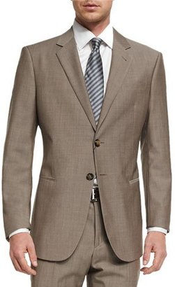 Giorgio Armani Taylor Solid Sharkskin Two-Piece Wool Suit, Tan $2,795 thestylecure.com