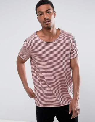 Asos Neppy Jersey Longline Stripe T-Shirt With Raw Edge Detail