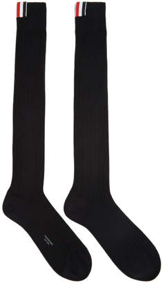 Thom Browne Black Ribbed Knee-High Socks