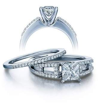 FineTresor 1.75 Carat Princess cut Diamond Antique Bridal Ring Set on 10K White Gold