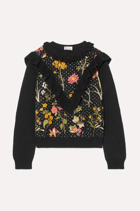RED Valentino Ruffled Floral-embroidered Cotton Sweater - Black