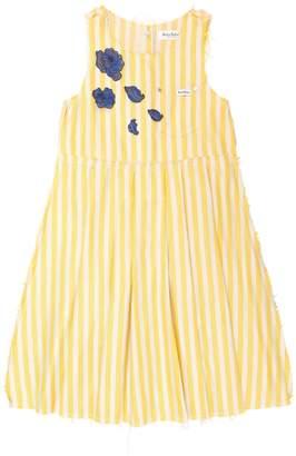 Striped Linen Blend Dress W/ Patches