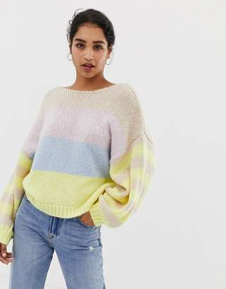 643bb87910e at ASOS · Vila colour block stripe balloon sleeve jumper