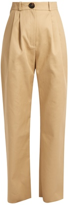 High-rise cotton chino trousers
