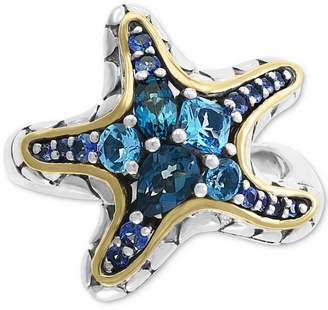 Effy Blue Topaz (1-1/2 ct.t.w) & Sapphire (5/8 ct. t.w.) Statement Ring in 18k Gold Over Sterling Silver