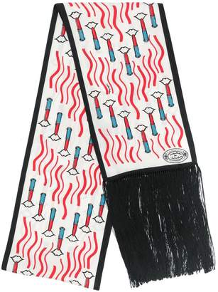 Valentino lipstick print fringed scarf