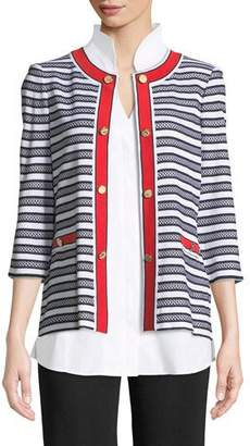 Misook Button-Detail Striped Jacket with Pockets