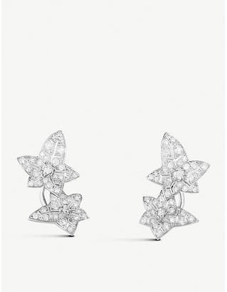 Boucheron Lierre de Paris 18ct white-gold and diamond leaf earrings