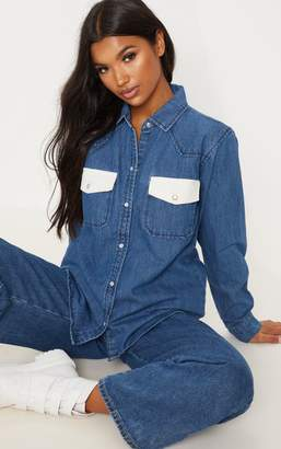 PrettyLittleThing Mid Wash Contrast Cord Pocket Denim Shirt