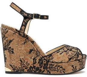 Jimmy Choo Perla Chantilly Lace Wedge Sandals