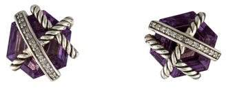 David Yurman Amethyst & Diamond Cable Wrap Earrings