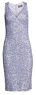 Theia Women's V-Neck Crunchy Sequin Cocktail Dress