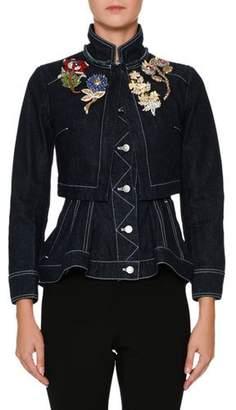 Alexander McQueen Embroidered-Shoulder Button-Front Layered Denim Jacket