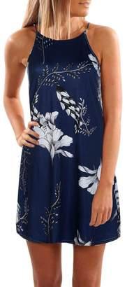 ARINLA 2018 Summer Women skirt fashion print beach mini short dress