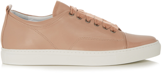LANVIN Capped-toe leather low-top trainers $471 thestylecure.com