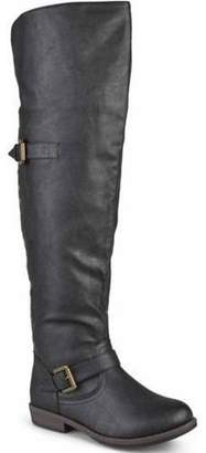 Brinley Co. Women's Wide-Calf Over-the-Knee Buckle Studded Boots