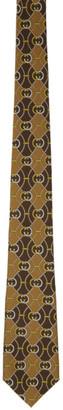 Gucci Beige and Brown Silk Interlocking G Rhombus Tie