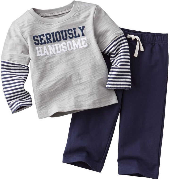 "Carter's seriously handsome"" mock-layer tee & pants set - baby"