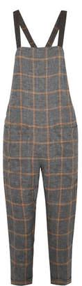 Brunello Cucinelli Monili Bead-embellished Checked Linen-voile Overalls - Gray