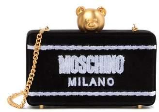 Moschino Velvet Push Lock Accent Evening Bag