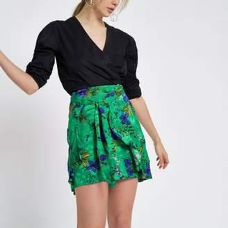 River Island Womens Green floral print wrap front mini skirt