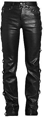Balenciaga Men's Conchos Laced Leather Skinny Pants
