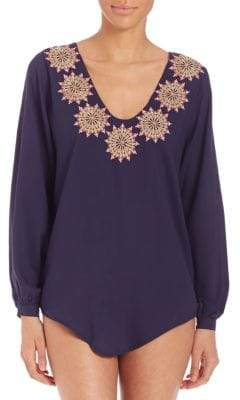 Embroidered V-Neck Cover-Up Blouse
