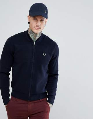 Fred Perry Knitted Bomber Jacket In Navy