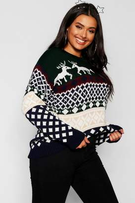 boohoo Plus Reindeer Fairisle Christmas Jumper