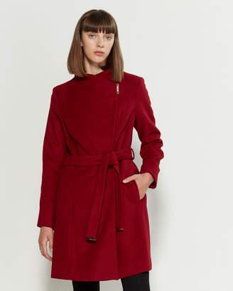 MICHAEL Michael Kors Asymmetrical Belted Wool-Blend Coat