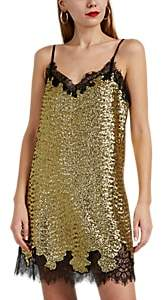 Women's Lace-Trimmed Sequined Slip Dress - Yellow
