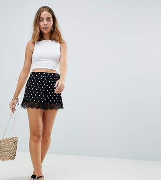 a0aa81ea7858 Asos Plisse Short in Spot Print with Lace Hem