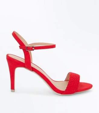 New Look Red Suedette Woven Strap Stiletto Heels