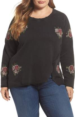 Lucky Brand Embroidered Distressed Sweatshirt