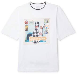 Prada Contrast-Tipped Printed Cotton-Jersey T-Shirt