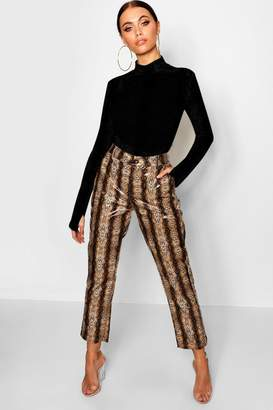 boohoo PU Snake Print Slim Fit Trousers