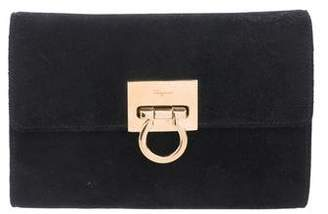 Salvatore Ferragamo Leather-Trimmed Suede Gancio Clutch