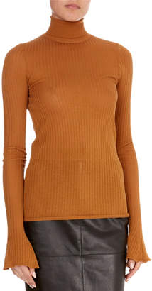 Victoria Beckham Sheer Rib-Knit Turtleneck Sweater
