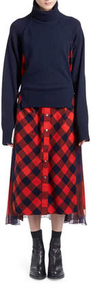 Sacai Turtleneck Long-Sleeve Wool Sweaterdress w/ Buffalo-Check Combos