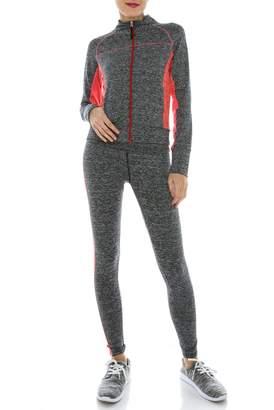 VERSCOS Women's Stretch 3 Pieces Compression Sets Jacket Tank Top Pant Leggings 65211