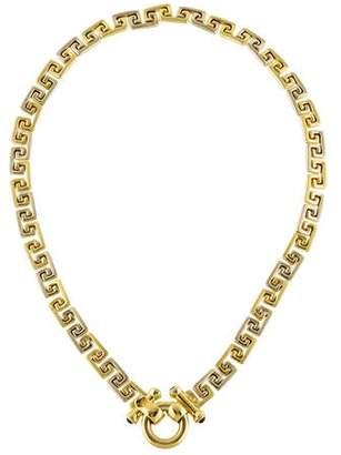 14K Sapphire Greek Key Necklace