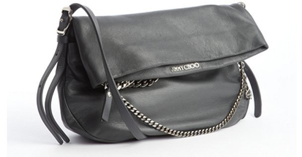 Jimmy Choo grey leather silvertone chain and charms shoulder bag