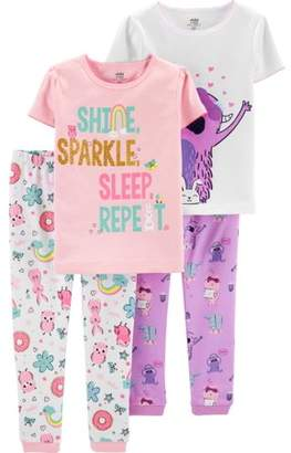 Carter's Child of Mine by Short Sleeve T-Shirt and Pant Cotton Pajama Bundle, 2 sets (Baby Girls)