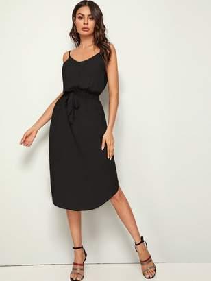 Shein Knot Elastic Waist Split Curved Hem Slip Dress