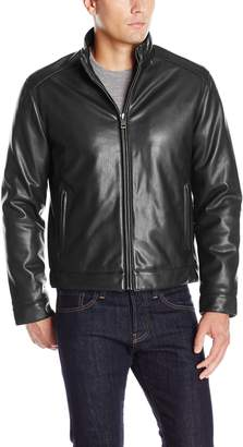 Cole Haan Men's Zip Front Faux Leather Moto Jacket